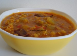 chana dal and pudalangai curry, chana dal and snake gourd curry