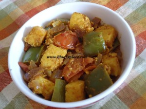 kadai paneer, north indian recipe, side dish for roti, capsicum paneer sabzi