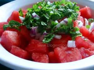adding mint for watermelon salad