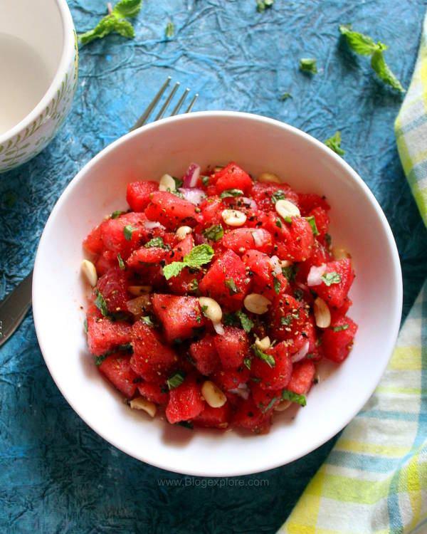watermelon mint salad, indian watermelon salad recipe, tarbooz salad