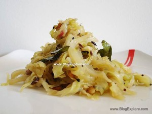 cabbage stir fry, muttaikose poriyal recipe, indian cabbage fry recipe