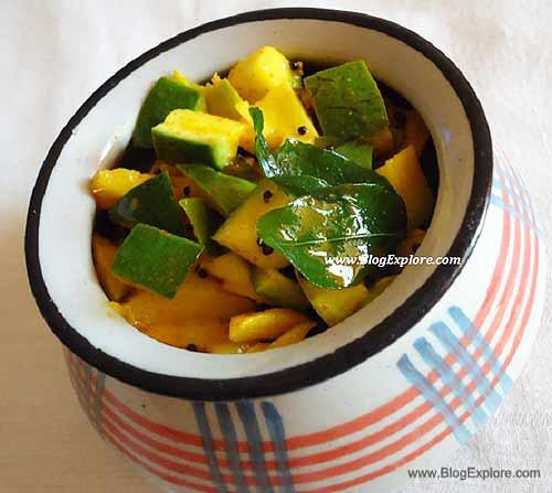 instant mango pickle, instant aam ka achar, instant maangai oorugai