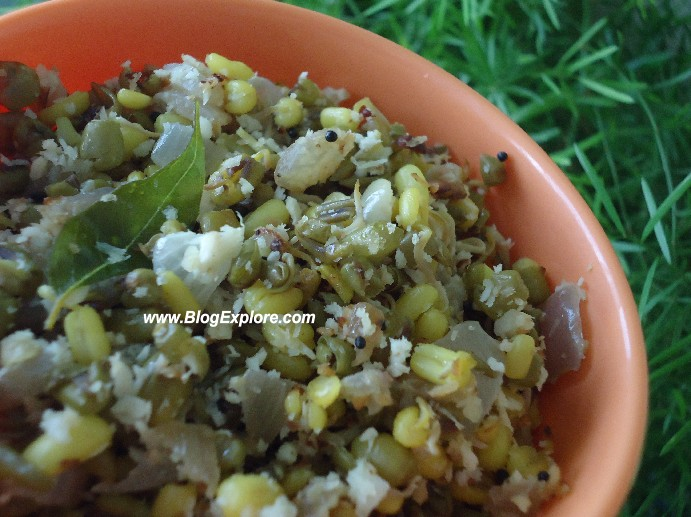 green gram sprouts stir fry, moong sprouts stir fry, mung sprouts stir fry, sprouted green gram recipe, sprouted green gram indian salad, nutritious indian recipe, pachai paruppu recipe, cherupayar thoran