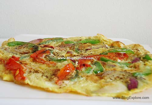 tomato bell pepper omelette, tomato capsicum omelette
