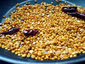 frying dal for paruppu thogayal