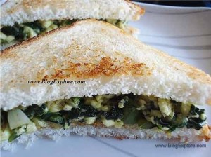 paneer spinach sandwich recipe, indian cottage cheese spinach sandwich recipe, healthy paneer palak sandwich recipe