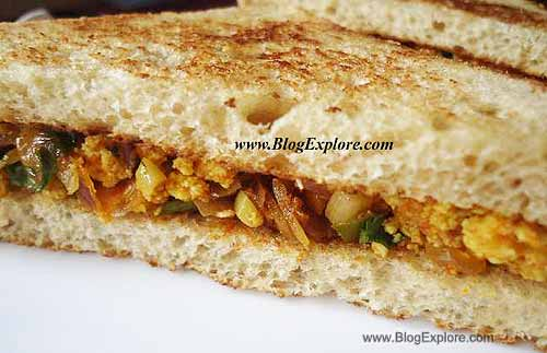 paneer sandwich recipe, grated paneer recipe, indian cottage cheese sandwich recipe