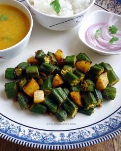 okra potato stir fry, aloo bhindi sabzi recipe