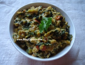 Palak Paneer Bhurji / Scrambled Cottage Cheese with Spinach