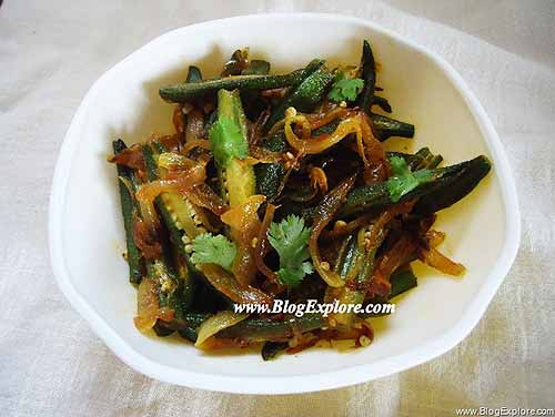 bhindi do pyaza recipe, okras and onion stir fry, bhindi do pyaza ...