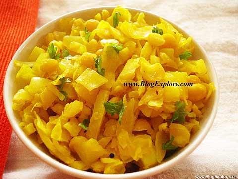 kobichi bhaji recipe, patta gobi chana dal sabzi, maharashtrian cabbage and split bengal gram dal stir fry recipe