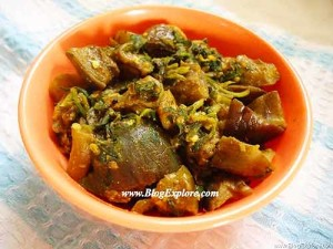 Methi Baingan   Brinjal and Fenugreek Leaves Dry Curry