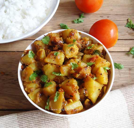 potato tomato fry recipe, urulai kizhangu poriyal