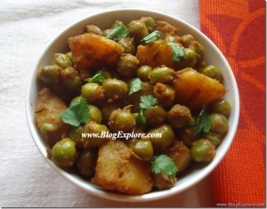 Aloo Matar Dry Sabzi | Potatoes Green Peas Fry
