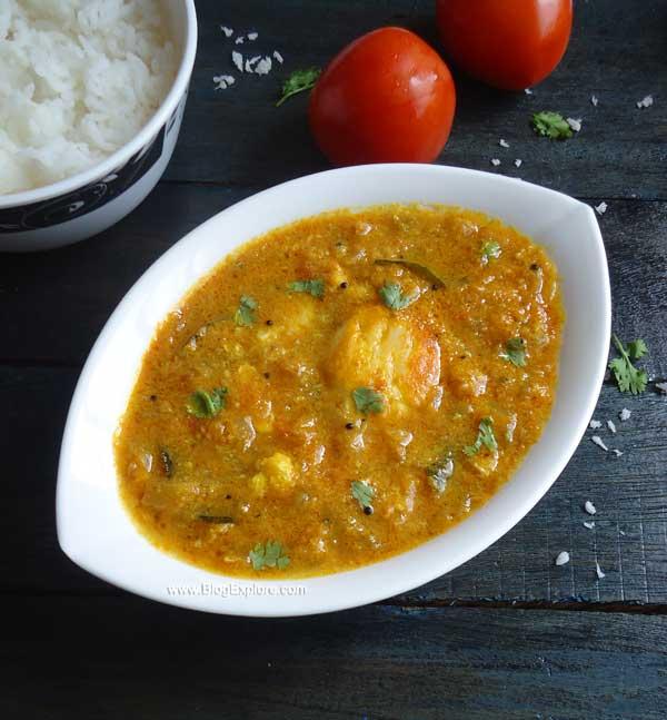 muttai kuzhambu recipe, poached egg curry recipe south indian style