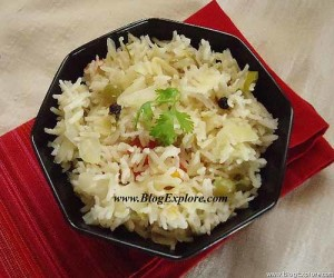 cabbage pulao recipe, patta gobi pulao recipe, muttaikose pulao, cabbage rice recipe
