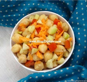 chickpea mango salad recipe, indian chickpeas and raw mango salad recipe, garbanzo bean mango salad recipe