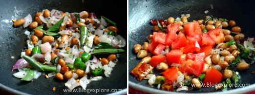 adding tomatoes for puffed rice upma recipe