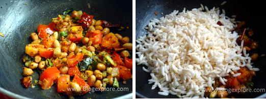 adding pori for puffed rice upma recipe