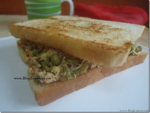 Moong Sprouts Sandwich | Mung Bean Sprouts Sandwich