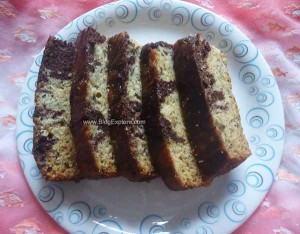 chocolate banana marble cake recipe, easy banana cocoa powder marble cake recipe