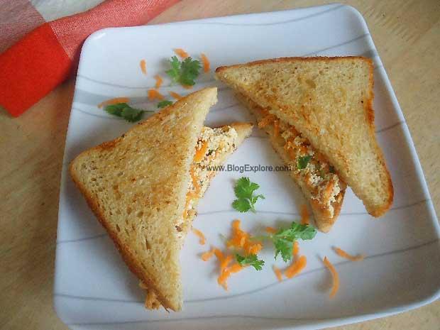 carrot paneer sandwich, carrot cottage cheese bread sandwich recipe