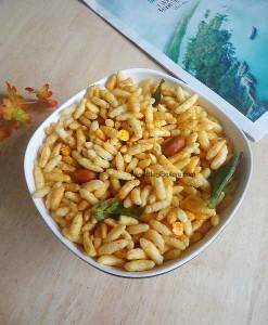 murmura chivda, murmura chivda maharashtrian snack recipe, puffed rice chivda recipe