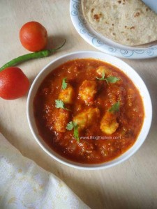 paneer tomato curry recipe, indian cottage cheese tomato gravy recipe