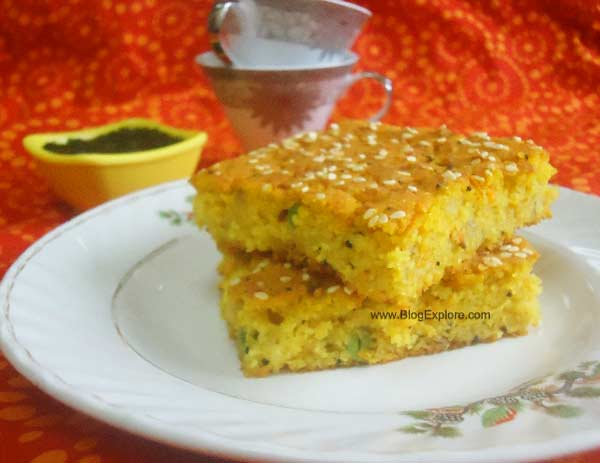 savory semolina cake, eggless savory semolina cake recipe, eggless suji cake recipe, baked savory rava cake recipe