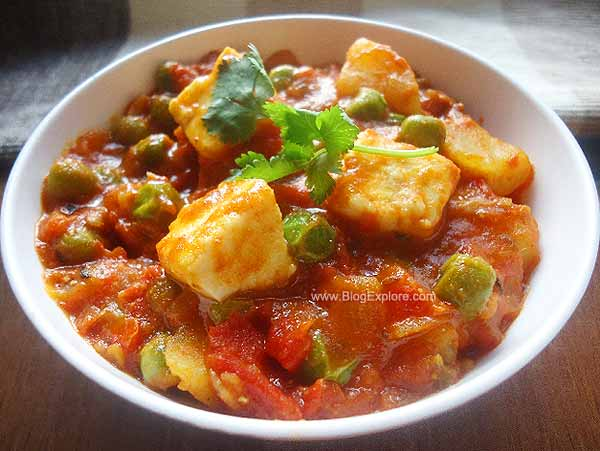 aloo matar paneer curry recipe, potato peas paneer curry recipe indian