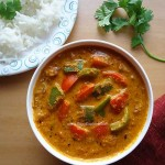 capsicum peanut masala curry recipe, capsicum masala curry with peanuts recipe