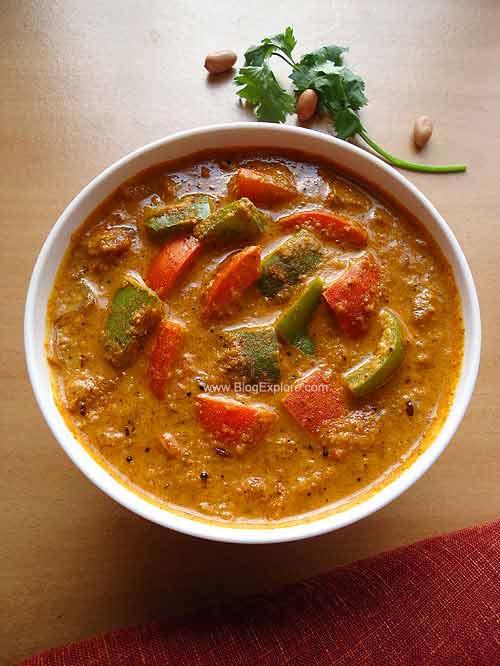 capsicum masala curry recipe, capsicum peanut masala curry recipe, capsicum masala curry with peanuts recipe