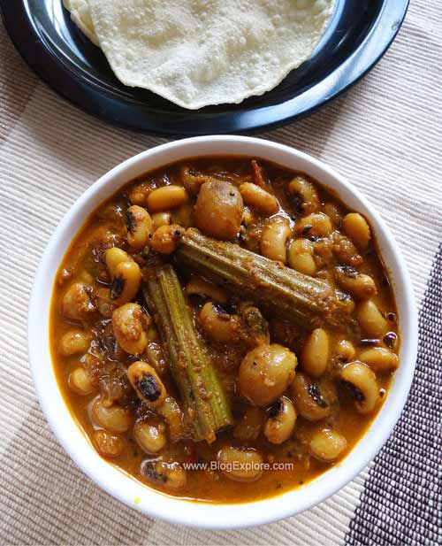 chettinad karamani kara kuzhambu recipe, south indian black eyed peas gravy recipe