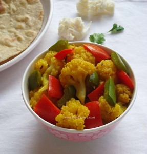 cauliflower capsicum stir fry recipe, gobi shimla mirch sabzi recipe