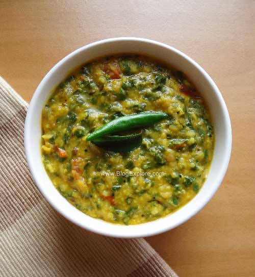 radish greens dal recipe, mullangi keerai kootu recipe