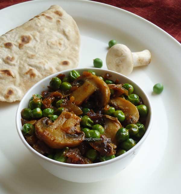 Matar Mushroom Fry – Mushroom and Peas Stir Fry