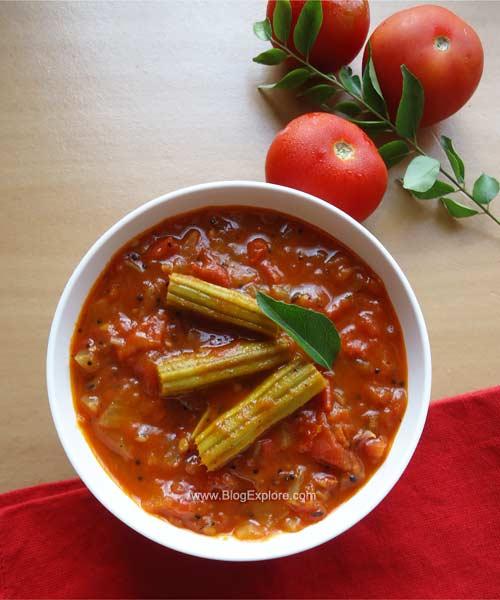munakkaya tomato kura recipe,drumstick tomato curry recipe