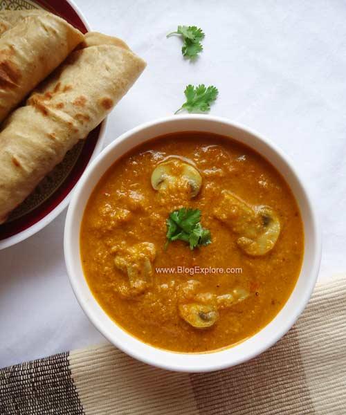 mushroom korma recipe, mushroom gravy recipe Indian