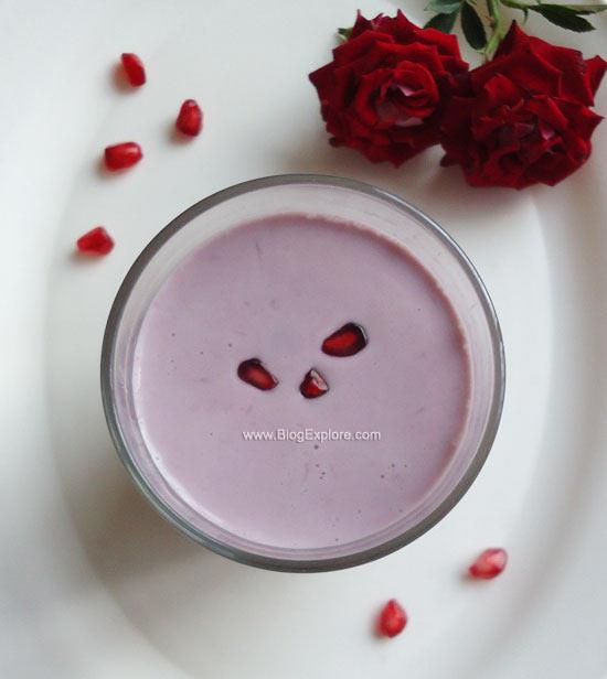 pomegranate milkshake recipe, anar milkshake recipe