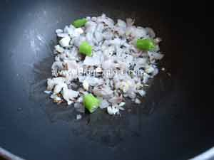 adding onions for beetroot dal recipe