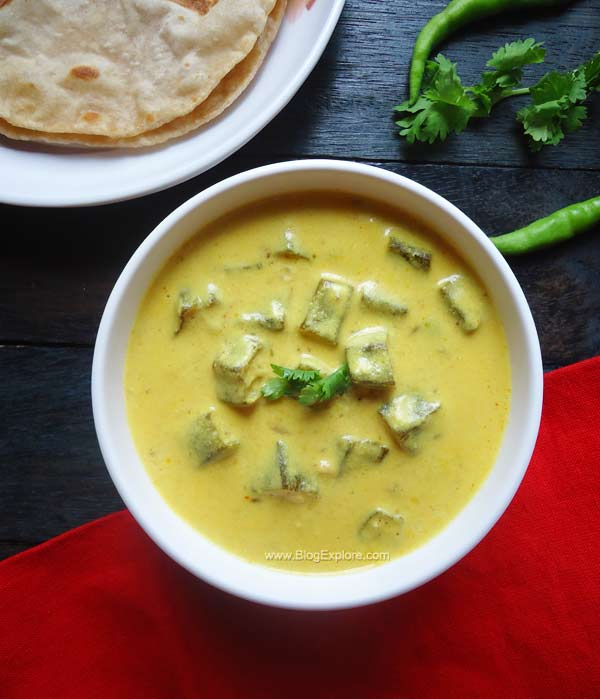 dahi bhindi recipe, okra in yogurt curry recipe