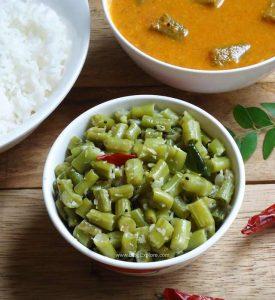 pachai karamani poriyal recipe, long beans stir fry recipe south indian