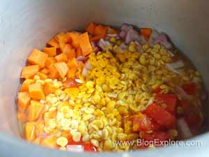 pressure cook dal and veggies for carrot kootu recipe