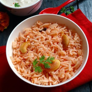 tomato pulao recipe - quick and easy flavorful lightly spiced Indian rice pulao using tomatoes