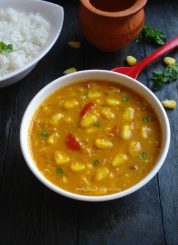 sweet corn curry, sweet corn curry with coconut milk