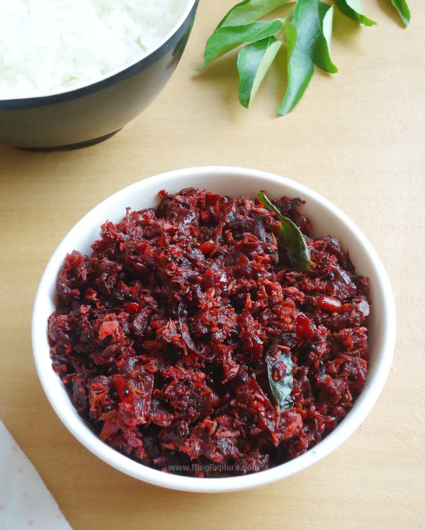 Beetroot Thoran recipe - healthy and delicious Kerala style beetroot stir fry with coconut and spices