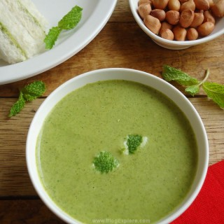 Peanut Mint Chutney recipe - a refreshing chutney / dip using peanuts and fresh mint leaves. Serves great with idlis, dosas, rotis or as a sandwich spread.