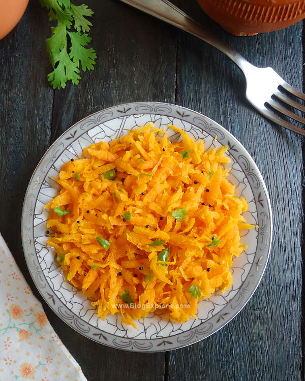 carrot salad recipe - an Indian style lightly seasoned warm salad using carrots