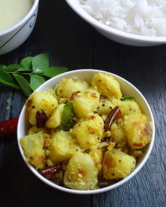 potato thoran recipe, kerala style potato stir fry with coconut and spices recipe