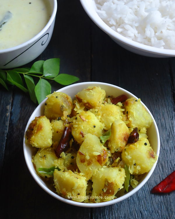 Potato Thoran recipe - a South Indian style potato coconut stir fry with spices